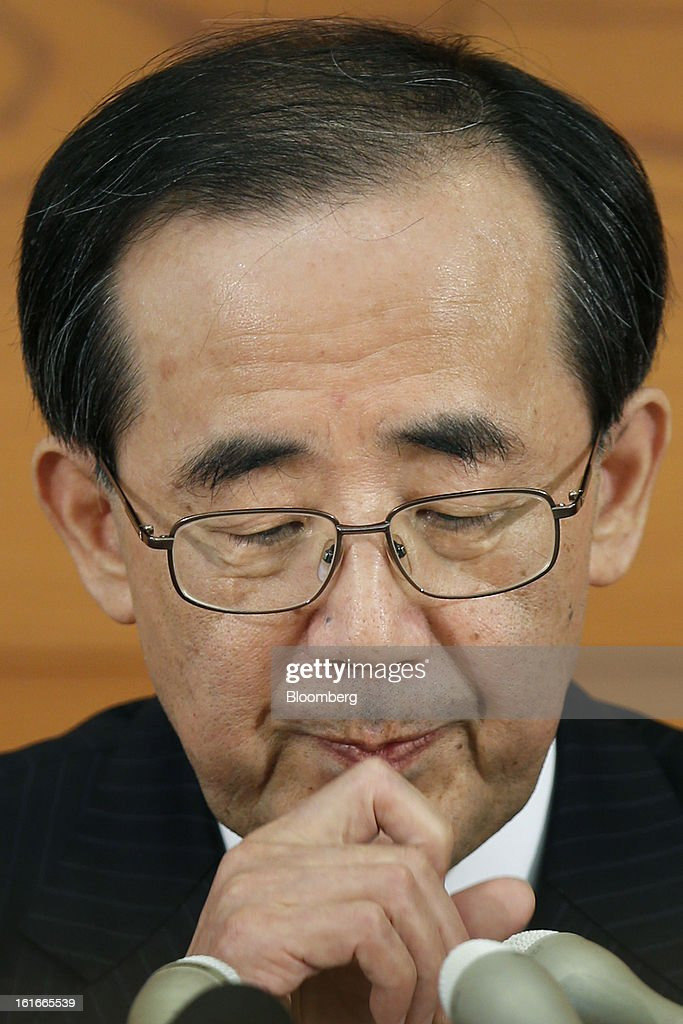 <a gi-track='captionPersonalityLinkClicked' href=/galleries/search?phrase=Masaaki+Shirakawa&family=editorial&specificpeople=5103203 ng-click='$event.stopPropagation()'>Masaaki Shirakawa</a>, governor of the Bank of Japan, pauses during a news conference at the central bank's headquarters in Tokyo, Japan, on Thursday, Feb. 14, 2013. Asian stocks rose after the Bank of Japan maintained its asset-purchasing program before its governor steps down next month. Photographer: Kiyoshi Ota/Bloomberg via Getty Images
