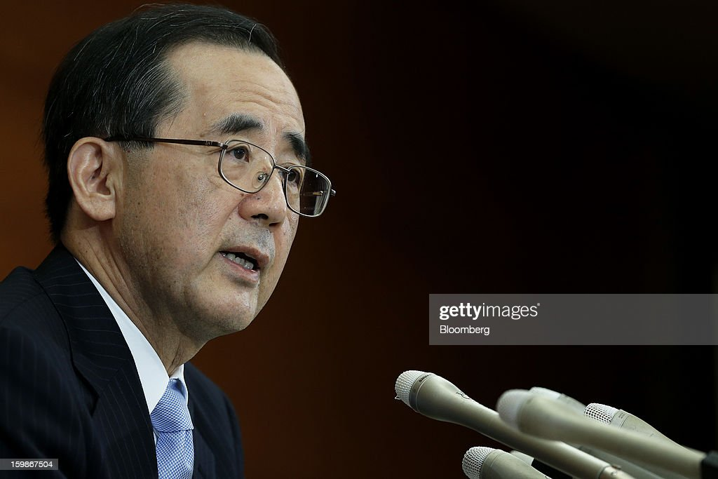 Masaaki Shirakawa, governor of the Bank of Japan, speaks during a news conference at the central bank's headquarters in Tokyo, Japan, on Tuesday, Jan. 22, 2013. The Bank of Japan made its strongest commitment yet to end two decades of stagnation, shifting to Federal Reserve-style open-ended asset purchases while disappointing investors by delaying the program until next year. Photographer: Kiyoshi Ota/Bloomberg via Getty Images