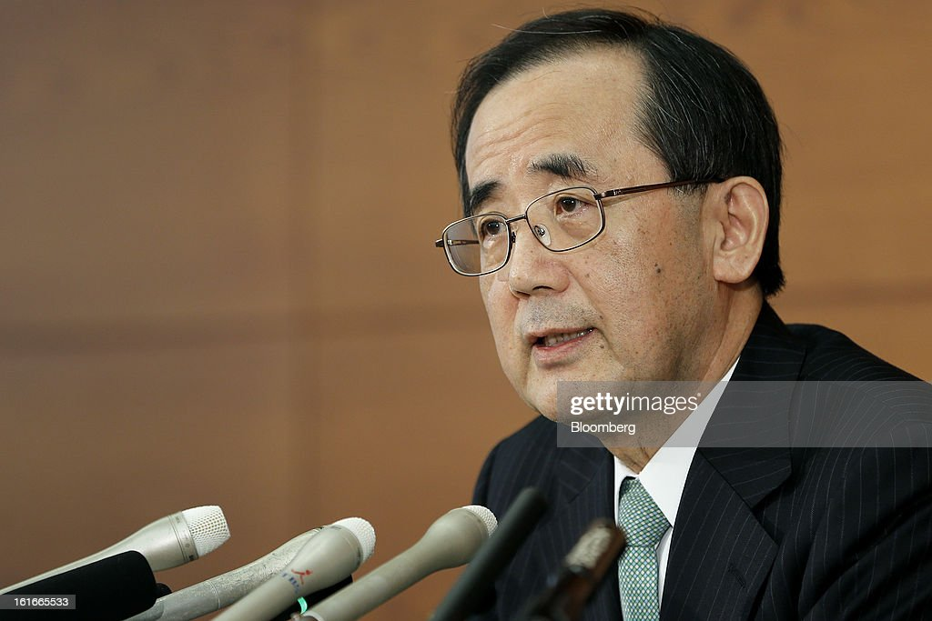 <a gi-track='captionPersonalityLinkClicked' href=/galleries/search?phrase=Masaaki+Shirakawa&family=editorial&specificpeople=5103203 ng-click='$event.stopPropagation()'>Masaaki Shirakawa</a>, governor of the Bank of Japan, speaks during a news conference at the central bank's headquarters in Tokyo, Japan, on Thursday, Feb. 14, 2013. Asian stocks rose after the Bank of Japan maintained its asset-purchasing program before its governor steps down next month. Photographer: Kiyoshi Ota/Bloomberg via Getty Images