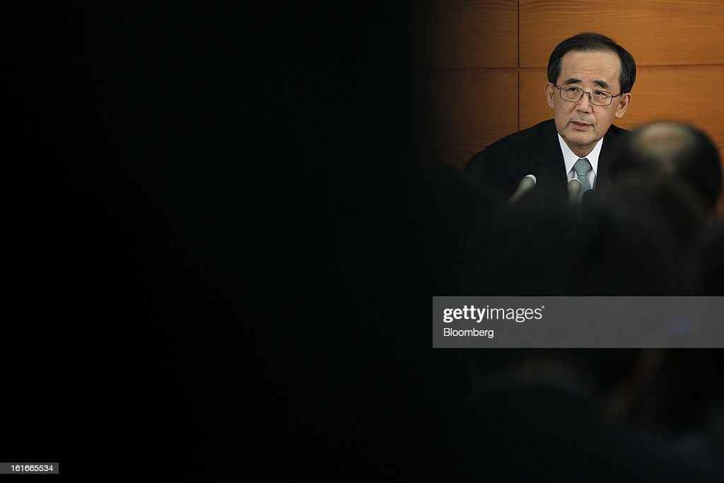 Masaaki Shirakawa, governor of the Bank of Japan, speaks during a news conference at the central bank's headquarters in Tokyo, Japan, on Thursday, Feb. 14, 2013. Asian stocks rose after the Bank of Japan maintained its asset-purchasing program before its governor steps down next month. Photographer: Kiyoshi Ota/Bloomberg via Getty Images