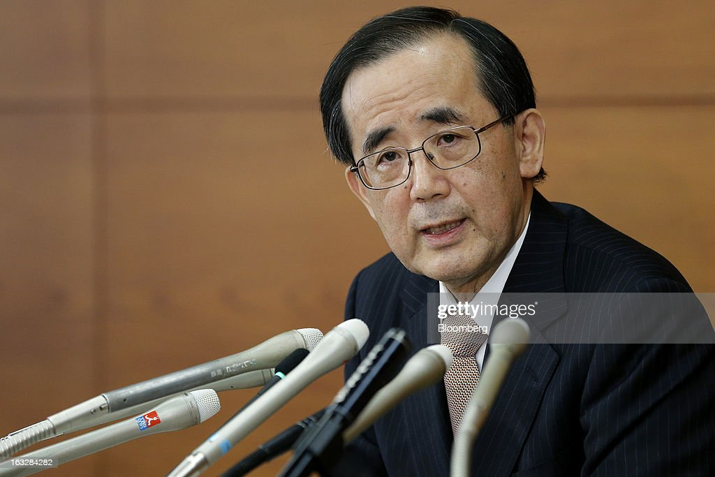 Masaaki Shirakawa, governor of the Bank of Japan, speaks during a news conference at the central bank's headquarters in Tokyo, Japan, on Thursday, March 7, 2013. The Bank of Japan rejected a call for an immediate start to open-ended asset purchases in Governor Masaaki Shirakawa's final meeting before a new leadership takes over at the central bank. Photographer: Kiyoshi Ota/Bloomberg via Getty Images