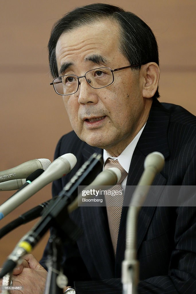 <a gi-track='captionPersonalityLinkClicked' href=/galleries/search?phrase=Masaaki+Shirakawa&family=editorial&specificpeople=5103203 ng-click='$event.stopPropagation()'>Masaaki Shirakawa</a>, governor of the Bank of Japan, speaks during a news conference at the central bank's headquarters in Tokyo, Japan, on Thursday, March 7, 2013. The Bank of Japan rejected a call for an immediate start to open-ended asset purchases in Governor <a gi-track='captionPersonalityLinkClicked' href=/galleries/search?phrase=Masaaki+Shirakawa&family=editorial&specificpeople=5103203 ng-click='$event.stopPropagation()'>Masaaki Shirakawa</a>'s final meeting before a new leadership takes over at the central bank. Photographer: Kiyoshi Ota/Bloomberg via Getty Images