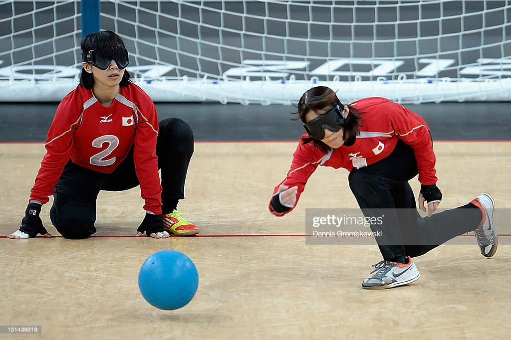 Masae Komiya of Japan throws the ball during her Women's Team Goalball Gold Medal match against China on day 9 of the London 2012 Paralympic Games at The Copper Box on September 7, 2012 in London, England.