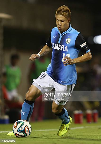 Masahiko Inoha of Jubilo Iwata in action during the J League second division match between Jubilo Iwata and Kamatamare Sanuki at Yamaha Stadium on...