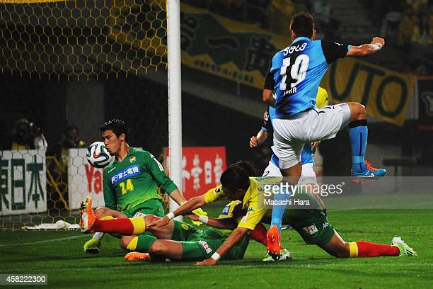 Masahiko Inoha of Jubilo Iwata scores the first goal during the JLeague second division match between JEF United Chiba and Jubilo Iwata at Fukuda...