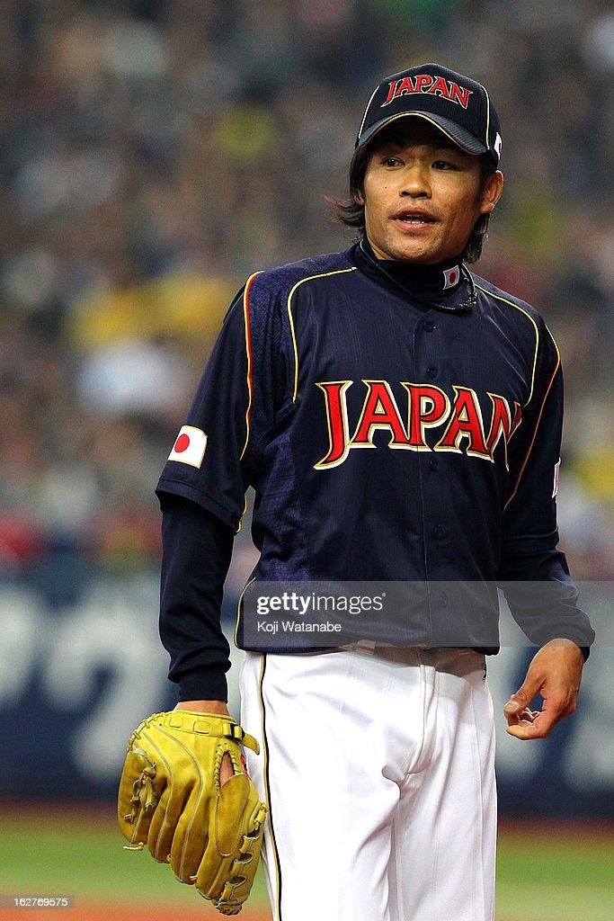 Masahiko Morifuku #21 of Japan looks on the friendly game between Hanshin Tigers and Japan at Kyocera Dome Osaka on February 26, 2013 in Osaka, Japan.