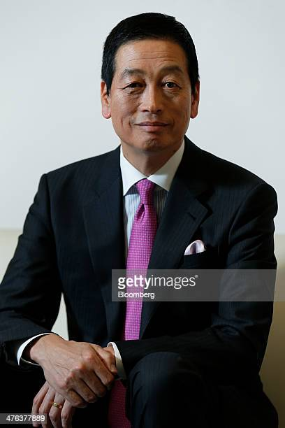 Masahiko Uotani incoming president and chief executive officer of Shiseido Co poses for a photograph at the company's headquarters in Tokyo Japan on...