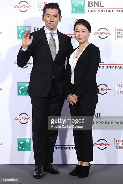 Masahiro Motoki and Miwa Nishikawa attend a photocall for 'Nagai Iiwake The Long Excuse' during the 11th Rome Film Festival at Auditorium Parco Della...