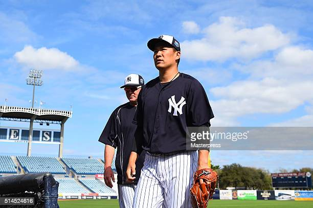 Masahiro Tanaka of New York Yankees looks on during a spring training workout on March 9 2016 in TampaFL United States