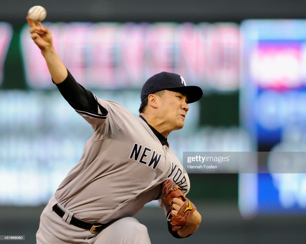 Masahiro Tanaka #19 of the New York Yankees delivers a pitch against the Minnesota Twins during the fifth inning of the game on July 3, 2014 at Target Field in Minneapolis, Minnesota. The Yankees defeated the Twins 7-4.