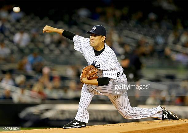 Masahiro Tanaka of the New York Yankees delivers a pitch against the Boston Red Sox in the first inning on September 30 2015 at Yankee Stadium in the...