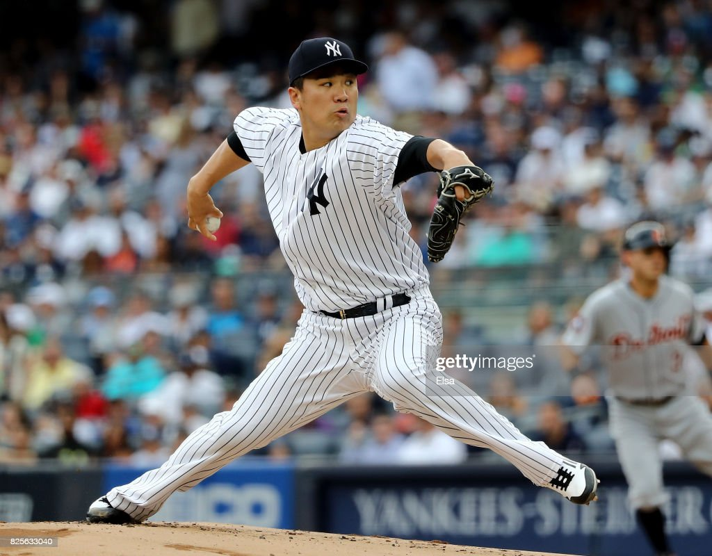 Masahiro Tanaka #19 of the New York Yankees delivers a pitch in the first inning against the Detroit Tigers on August 2, 2017 at Yankee Stadium in the Bronx borough of New York City.