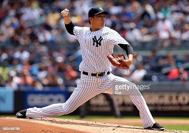 Masahiro Tanaka of the New York Yankees delivers a pitch in the second inning against the Toronto Blue Jays on August 9 2015 at Yankee Stadium in the...
