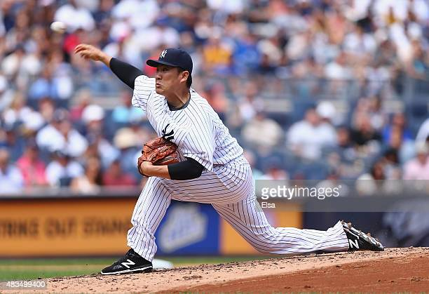 Masahiro Tanaka of the New York Yankees delivers a pitch in the third inning against the Toronto Blue Jays on August 9 2015 at Yankee Stadium in the...