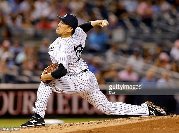 Masahiro Tanaka of the New York Yankees delivers a pitch in the third inning against the Cleveland Indians on August 21 2015 at Yankee Stadium in the...