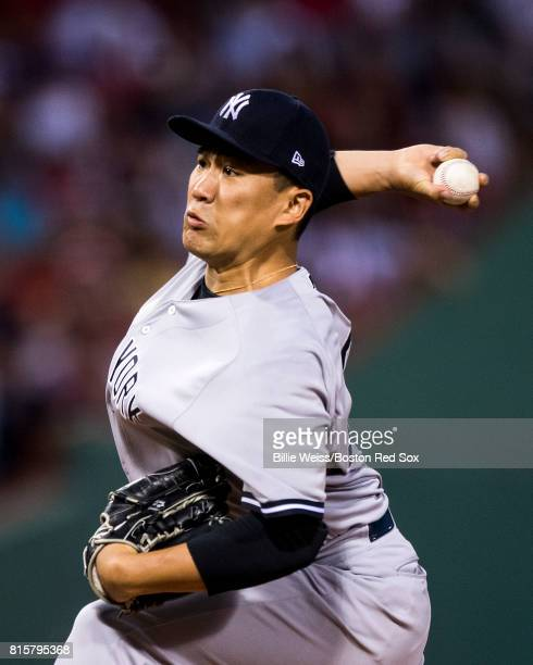 Masahiro Tanaka of the New York Yankees delivers during the first inning of a game against the Boston Red Sox on July 16 2017 at Fenway Park in...