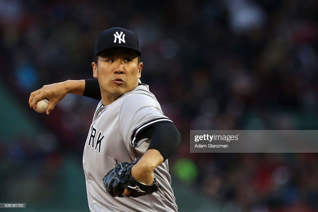 <a gi-track='captionPersonalityLinkClicked' href=/galleries/search?phrase=Masahiro+Tanaka&family=editorial&specificpeople=5492836 ng-click='$event.stopPropagation()'>Masahiro Tanaka</a> #19 of the New York Yankees delivers in the first inning during the game against the Boston Red Sox at Fenway Park on April 29, 2016 in Boston, Massachusetts.