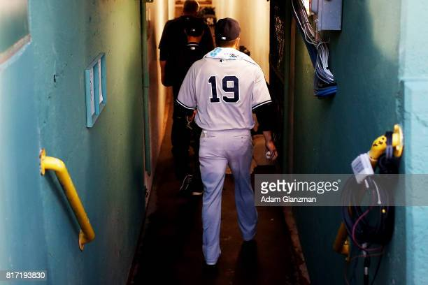 Masahiro Tanaka of the New York Yankees enters the clubhouse before game two of a doubleheader against the Boston Red Sox at Fenway Park on July