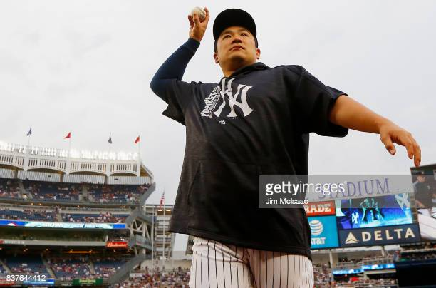 Masahiro Tanaka of the New York Yankees in action against the New York Mets at Yankee Stadium on August 14 2017 in the Bronx borough of New York City...