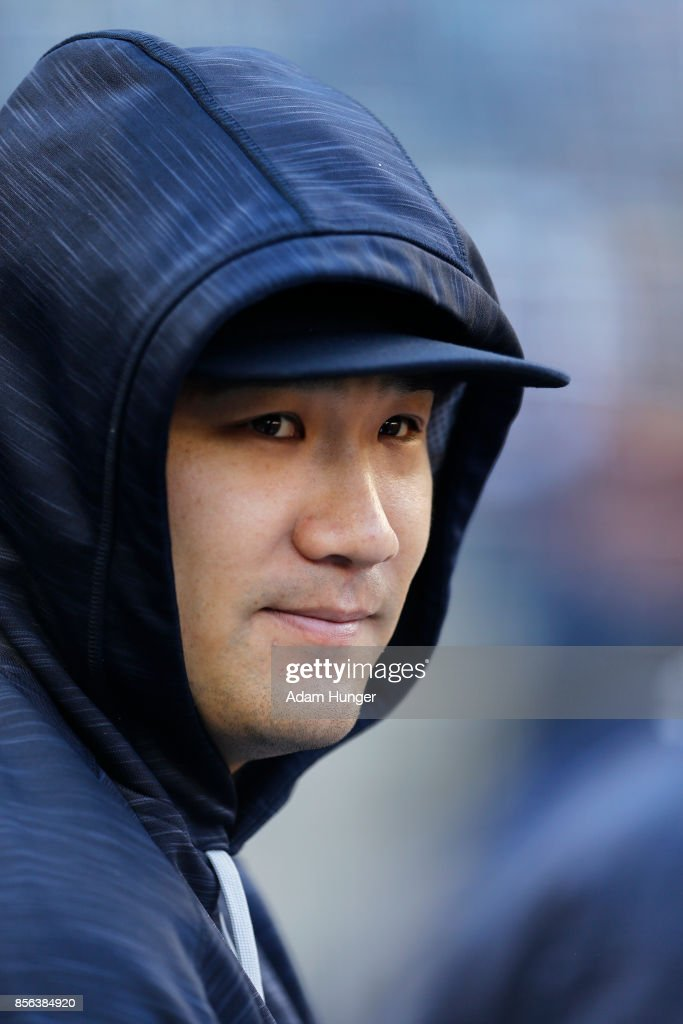 Masahiro Tanaka #19 of the New York Yankees looks on against the Toronto Blue Jays at Yankee Stadium on October 1, 2017 in the Bronx borough of New York City.