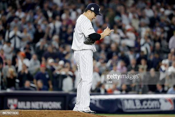 Masahiro Tanaka of the New York Yankees looks on during the sixth inning against the Houston Astros in Game Five of the American League Championship...