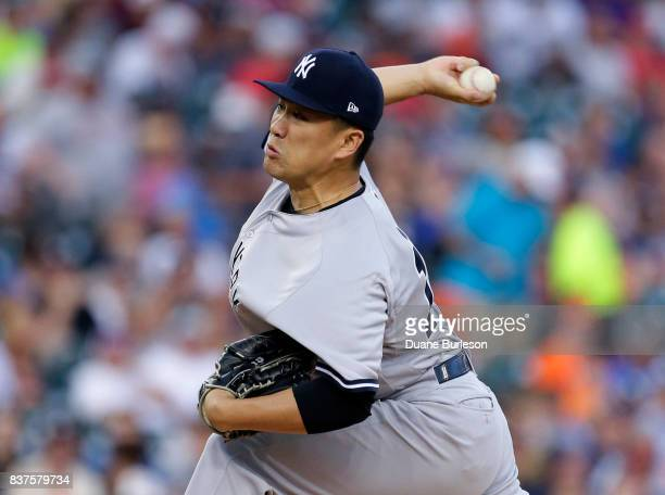 Masahiro Tanaka of the New York Yankees pitches against the Detroit Tigers during the first inning at Comerica Park on August 22 2017 in Detroit...