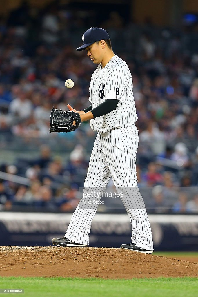 Masahiro Tanaka #19 of the New York Yankees pitches against the Minnesota Twins in the fifth inning at Yankee Stadium on June 24, 2016 in the Bronx borough of New York City. Yankees defeated the Twins 5-3.