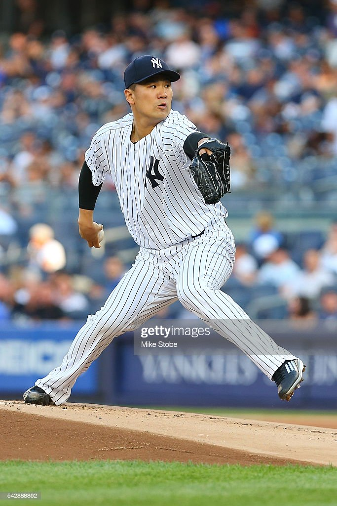 <a gi-track='captionPersonalityLinkClicked' href=/galleries/search?phrase=Masahiro+Tanaka&family=editorial&specificpeople=5492836 ng-click='$event.stopPropagation()'>Masahiro Tanaka</a> #19 of the New York Yankees pitches against the Minnesota Twins in the first inning at Yankee Stadium on June 24, 2016 in the Bronx borough of New York City. Yankees defeated the Twins 5-3.