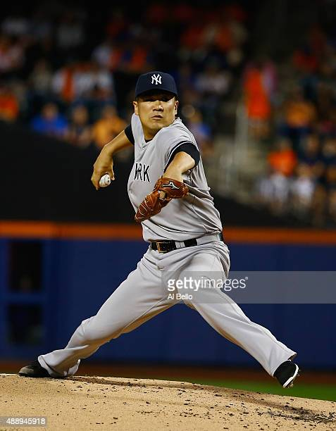 Masahiro Tanaka of the New York Yankees pitches against the New York Mets in the first inning during their game at Citi Field on September 18 2015 in...