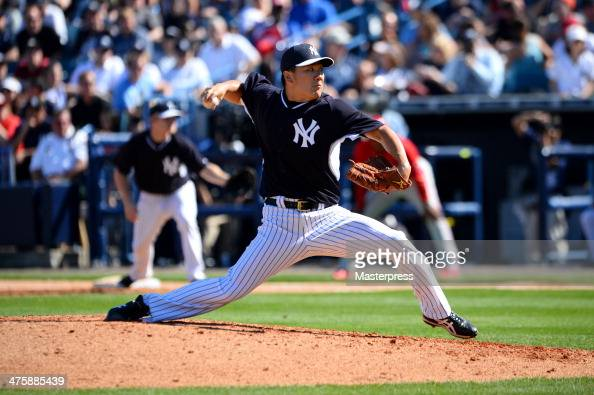Masahiro Tanaka of the New York Yankees pitches against the Philadelphia Phillies at George M Steinbrenner Field on March 1 2014 in Tampa Florida