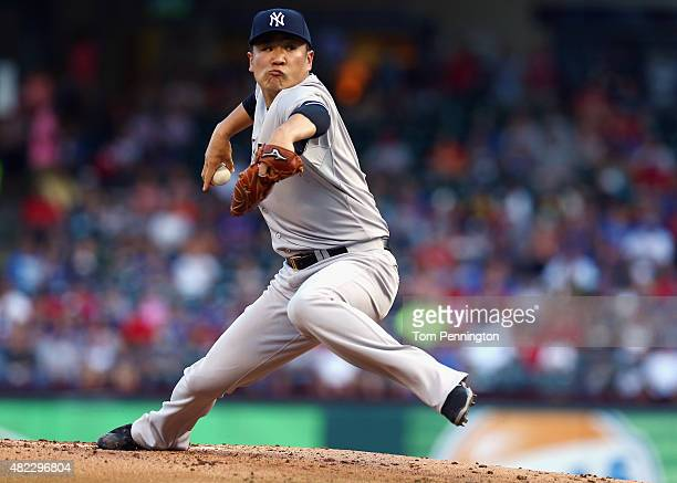Masahiro Tanaka of the New York Yankees pitches against the Texas Rangers in the bottom of the first inning at Globe Life Park in Arlington on July...