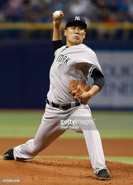 Masahiro Tanaka of the New York Yankees pitches during the first inning of a game against the Tampa Bay Rays on April 18 2015 at Tropicana Field in...