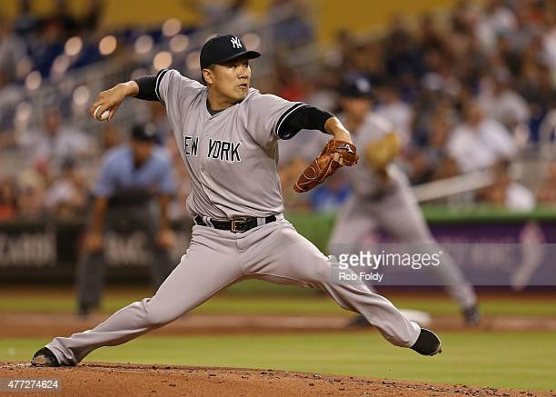 Masahiro Tanaka of the New York Yankees pitches during the first inning of the game against the Miami Marlins at Marlins Park on June 15 2015 in...