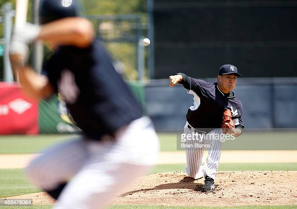 Masahiro Tanaka of the New York Yankees pitches in a simulated game on September 15 2014 at George M Steinbrenner Field in Tampa Florida