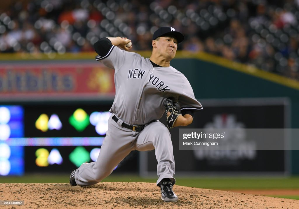 Masahiro Tanaka #19 of the New York Yankees pitches in the bottom of the fourth inning of the game against the Detroit Tigers at Comerica Park on August 22, 2017 in Detroit, Michigan. The Yankees defeated the Tigers 13-4.