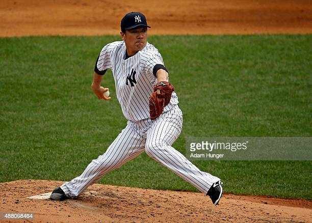 Masahiro Tanaka of the New York Yankees pitches in the fifth inning against the Toronto Blue Jays at Yankee Stadium on September 13 2015 in the Bronx...