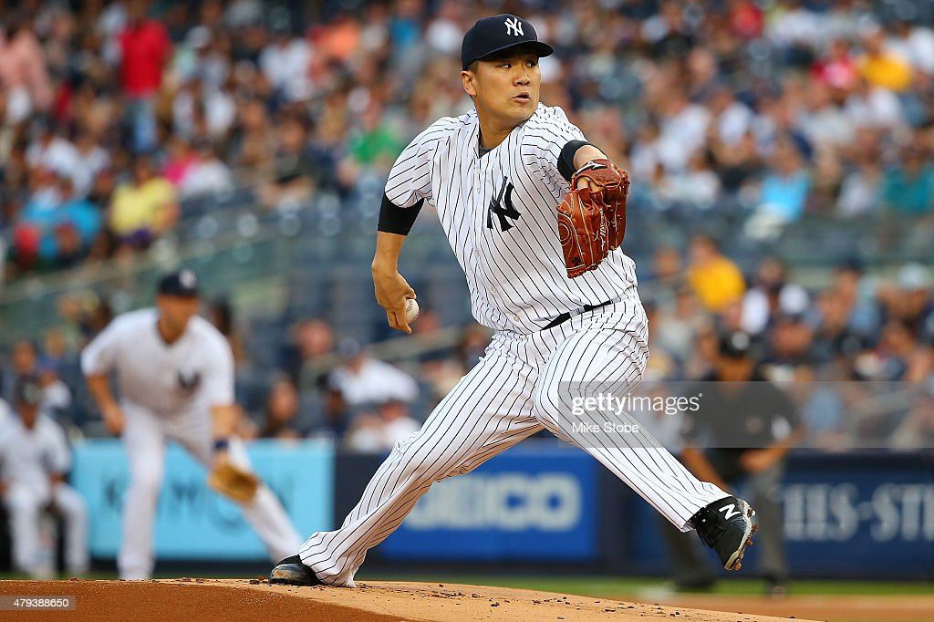 Masahiro Tanaka #19 of the New York Yankees pitches in the first inning against the Tampa Bay Rays at Yankee Stadium on July 3, 2015 in the Bronx borough of New York City.