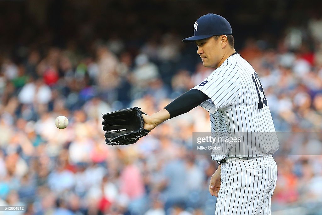 <a gi-track='captionPersonalityLinkClicked' href=/galleries/search?phrase=Masahiro+Tanaka&family=editorial&specificpeople=5492836 ng-click='$event.stopPropagation()'>Masahiro Tanaka</a> #19 of the New York Yankees pitches in the first inning aginst the Minnesota Twins at Yankee Stadium on June 24, 2016 in the Bronx borough of New York City. Boston