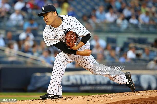 Masahiro Tanaka of the New York Yankees pitches in the second inning against the Washington Nationals at Yankee Stadium on June 9 2015 in the Bronx...