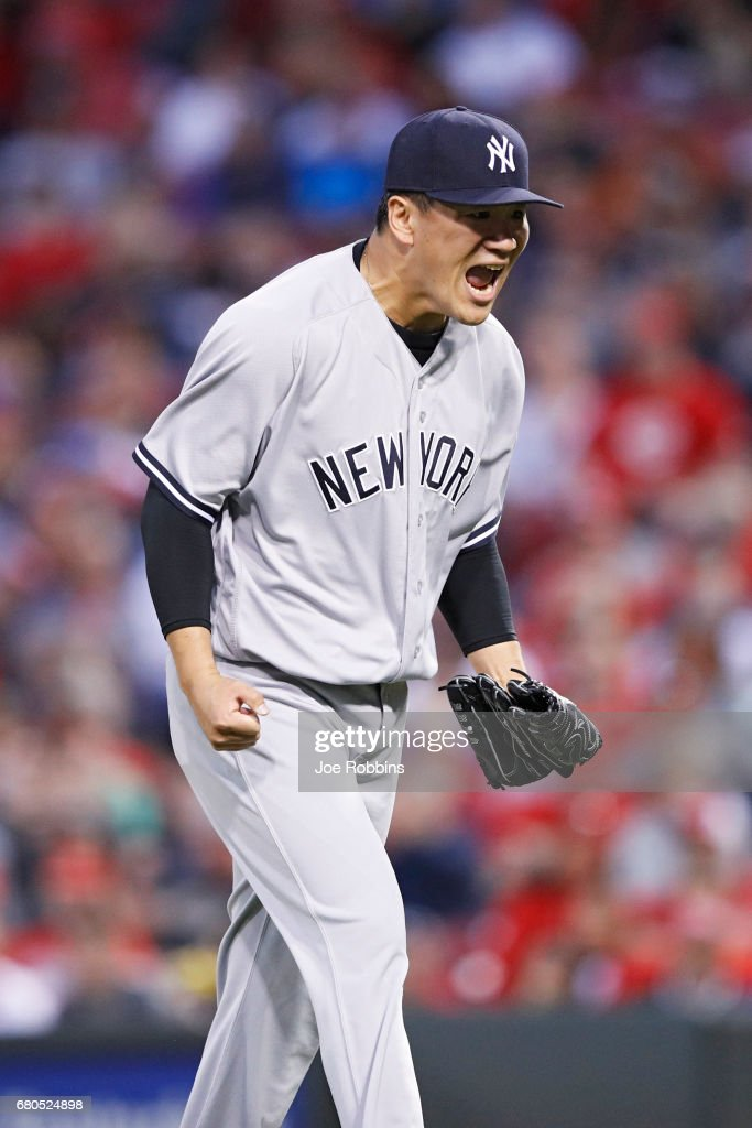 Masahiro Tanaka #19 of the New York Yankees reacts after getting a double play with the bases loaded to end the first inning of a game against the Cincinnati Reds at Great American Ball Park on May 8, 2017 in Cincinnati, Ohio. The Yankees defeated the Reds 10-4.