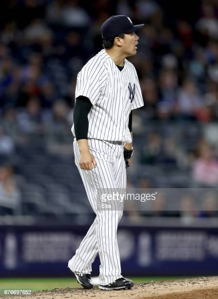 Masahiro Tanaka of the New York Yankees reacts after he strikes out the final batter of the sixth inning against the Toronto Blue Jays on May 2 2017...