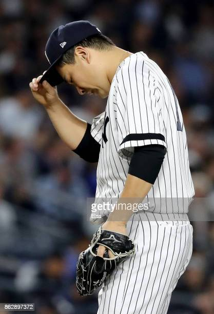 Masahiro Tanaka of the New York Yankees reacts during the fifth inning against the Houston Astros in Game Five of the American League Championship...