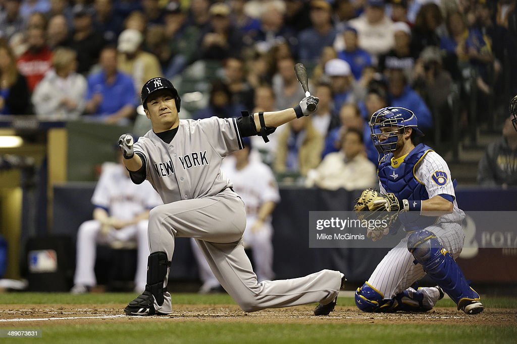<a gi-track='captionPersonalityLinkClicked' href=/galleries/search?phrase=Masahiro+Tanaka&family=editorial&specificpeople=5492836 ng-click='$event.stopPropagation()'>Masahiro Tanaka</a> #19 of the New York Yankees strikes out in the bottom of the fourth inning during interleague game against the Milwaukee Brewers at Miller Park on May 09, 2014 in Milwaukee, Wisconsin.
