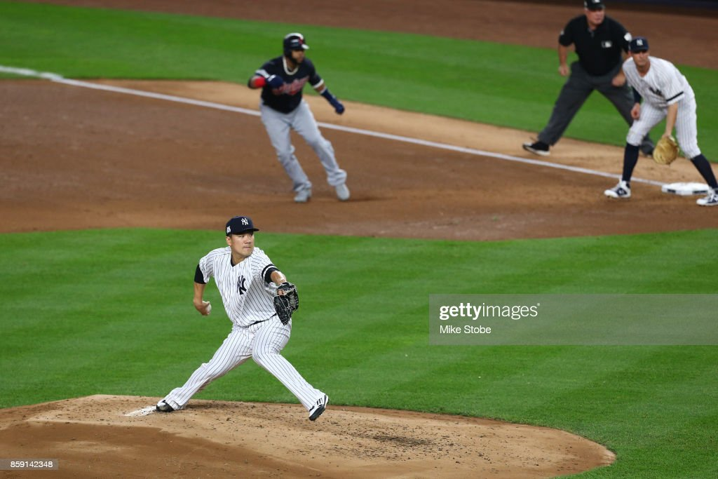 Masahiro Tanaka #19 of the New York Yankees throws a pitch during the second inning against the Cleveland Indians in game three of the American League Division Series at Yankee Stadium on October 8, 2017 in New York City.