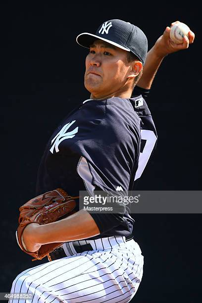 Masahiro Tanaka of the New York Yankees throws during the New York Yankees Spring Training at George M Steinbrenner Field on March 2 2015 in Tampa...