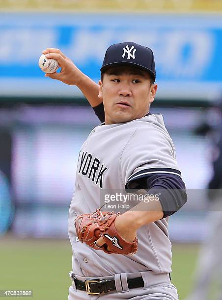 Masahiro Tanaka of the New York Yankees warms up prior to the start of the game against the Detroit Tigers on April 23 2015 at Comerica Park in...