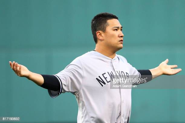 Masahiro Tanaka of the New York Yankees warms up the before game two of a doubleheader against the Boston Red Sox at Fenway Park on July