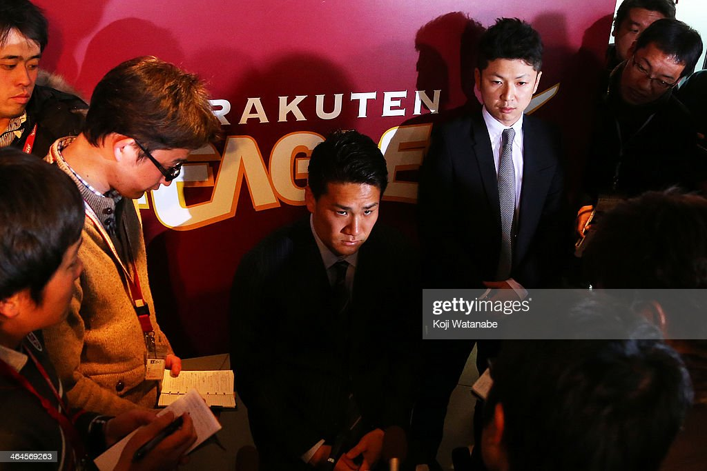 <a gi-track='captionPersonalityLinkClicked' href=/galleries/search?phrase=Masahiro+Tanaka&family=editorial&specificpeople=5492836 ng-click='$event.stopPropagation()'>Masahiro Tanaka</a> of Tohoku Rakuten Golden Eagles is surrounded by media reporters after the news conference announcing his agreement to a seven-year contract of 155 million U.S. dollars with the New York Yankees at Rakuten Kobo Stadium Miyagi on January 23, 2014 in Sendai, Miyagi, Japan.
