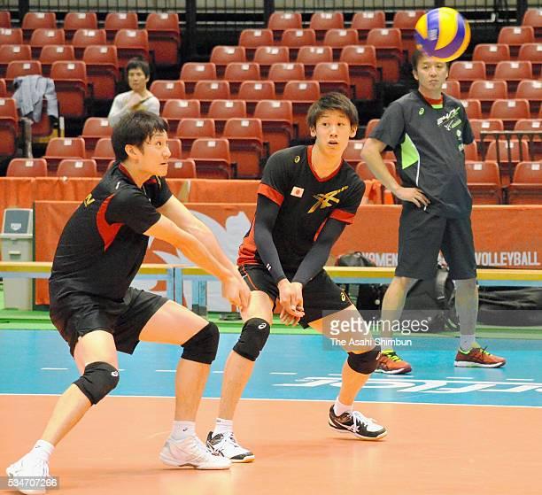 Masahiro Yanagida and Yuki Ishikawa of Japan in action during a training session at the Tokyo Metropolitan Gymnasium on May 27 2016 in Tokyo Japan