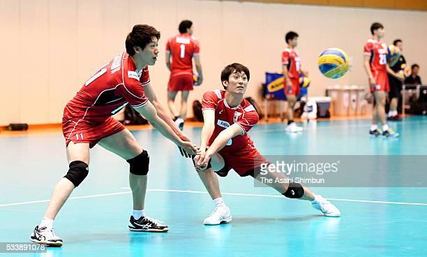 Masahiro Yanagida and Yuki Ishikawa of Japan in training ahead of the Men's World Olympic Qualification at the National Training Center on May 23...